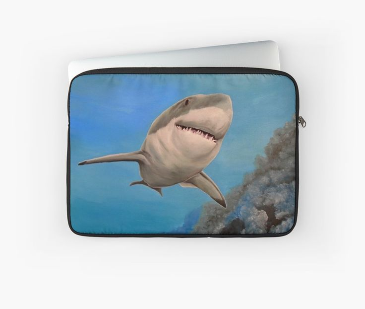 Laptop Sleeve,  unique,cool,fancy,beautiful,trendy,artistic,awesome,unusual,fashionable,accessories,gifts,presents,ideas,design,items,products,for sale,shark,wildlife,aqua,blue,turquoise,ocean,redbubble