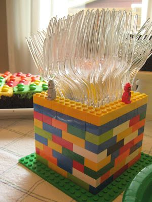 Lego utensil holder (with Lego brownies in the background) for a Lego-themed party. So cool!