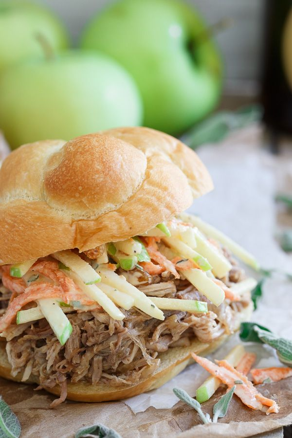 BBQ Apple Pulled Pork Sandwiches with Apple Carrot Slaw. An easy slow cooker dinner perfect for fall.