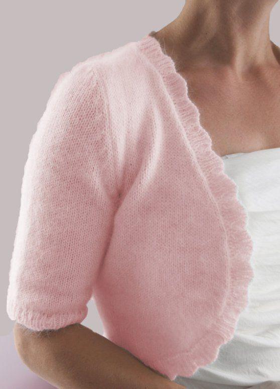 Angora Shrug Knitting Pattern | Knitting Patterns for Shrugs and Boleros, many free patterns at http://intheloopknitting.com/free-shrug-bolero-knitting-patterns/