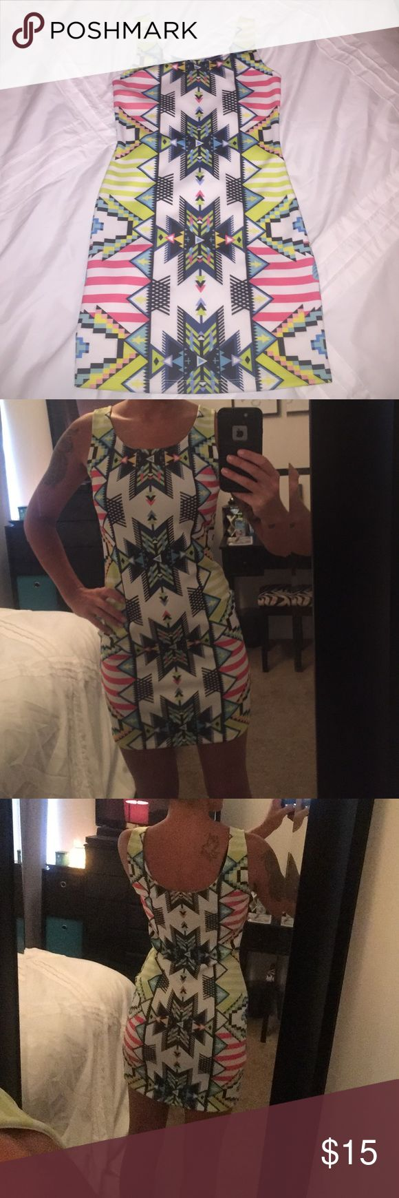 Aztec body con dress Love this dress, but I don't go out enough to wear it! Work once, still in perfect condition!! Charlotte Russe Dresses Mini