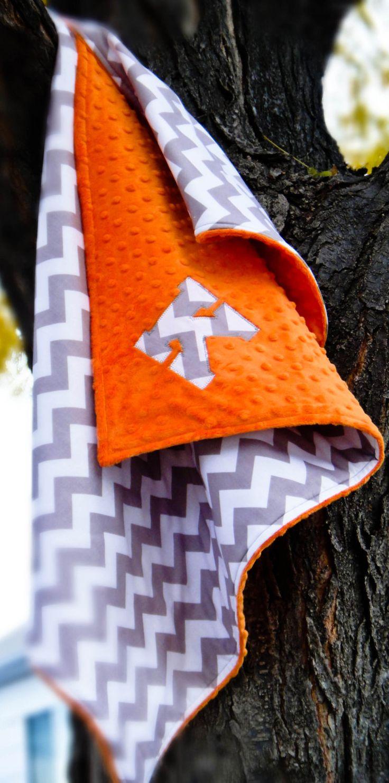 Personalized Orange & Gray Chevron Stroller by TheWildRaccoon, $40.00