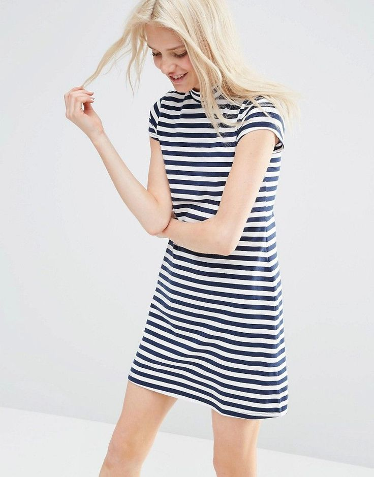 ASOS+A+Line+Shift+Dress+with+High+Neck+in+Stripe