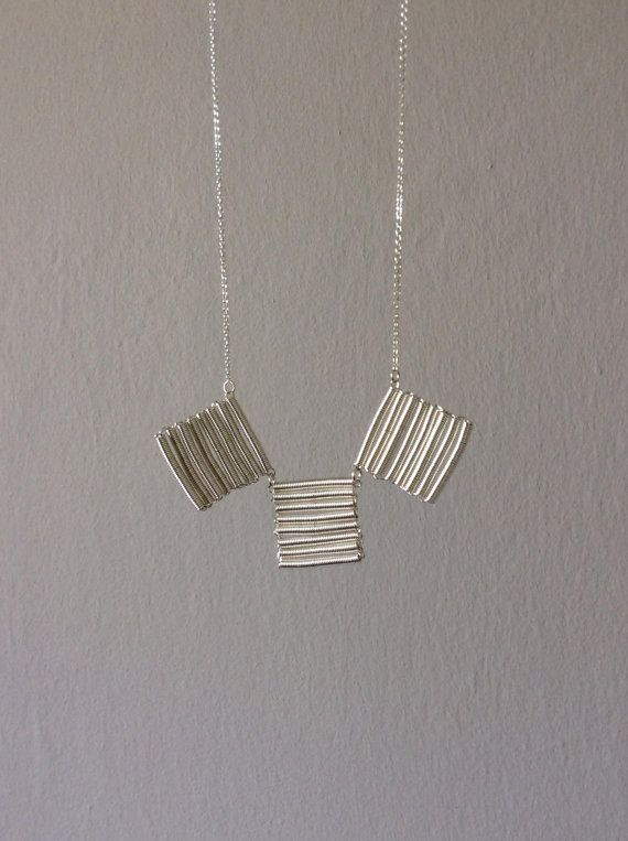Fringe triple silver necklace hand twisted coil 925 by EliaLaNoire