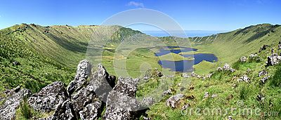 Volcano crater on the island of Corvo Azores Portugal.