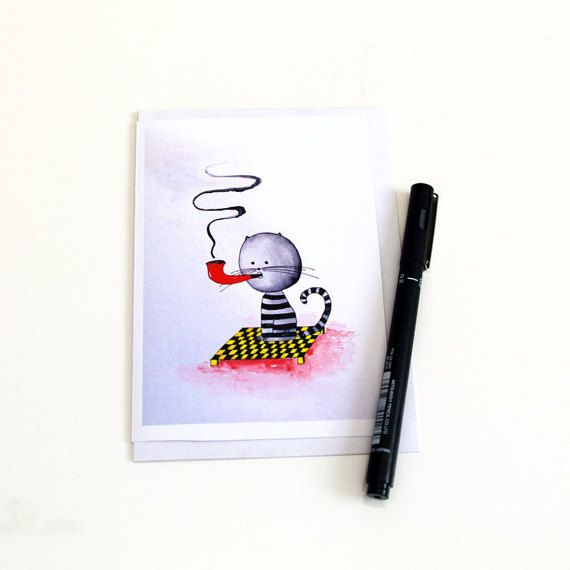 Funny birthday card for him Animal smoking pipe por artbyasta
