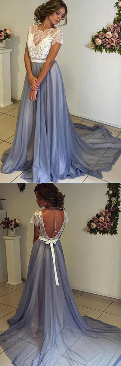 Chiffon Prom Dress with Lace Back,Scoop Neckline Cap Sleeves Prom Gowns #Chiffon #Promdresses #Laceback #Scoopneck #Capsleeves