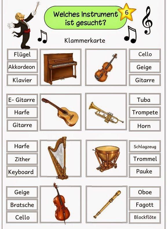 6 Klammerkarten zur Instrumentenkunde für die Freiarbeit ... Mit diesen Klammerkarten lassen sich die Instrumentennamen wiederholen u...