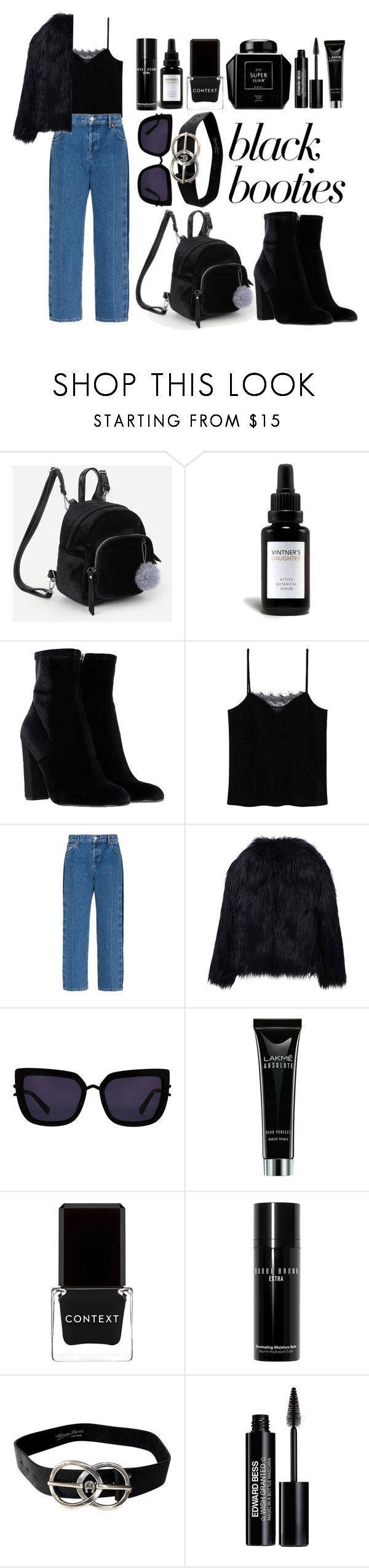 """black"" by thegoodmansdaughter ❤ liked on Polyvore featuring Vintner's Daughter, Steve Madden, MANGO, Balenciaga, WithChic, Kendall + Kylie, Context, Bobbi Brown Cosmetics, Etienne Aigner and Edward Bess"