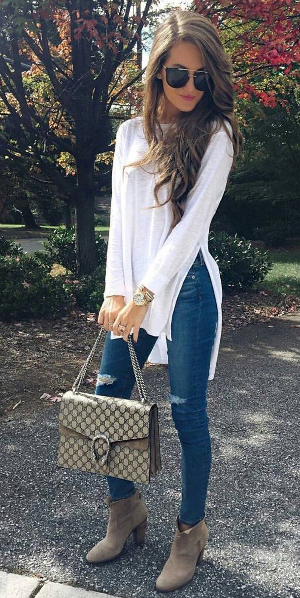 #fall #outfits ·  White Shiffon Top + Ripped Jeans + Suede Ankle Boots