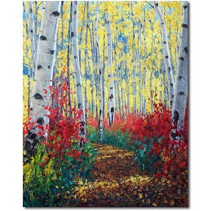 Sunshine Pathway - Aspen Art Birch Tree Artist, painting by artist Jennifer Vranes