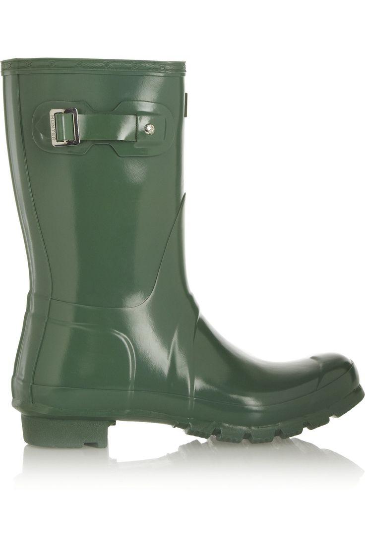 HUNTER ORIGINAL Short Gloss Wellington boots. #hunteroriginal #shoes #boots