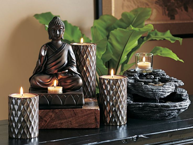 Zen Water Fountain: Stoned look poly-resin & river rocks w/votive holder cup