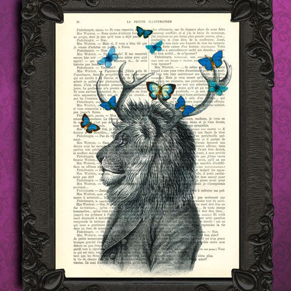 Hey, I found this really awesome Etsy listing at http://www.etsy.com/listing/125704447/lion-with-antler-dictionary-art-print