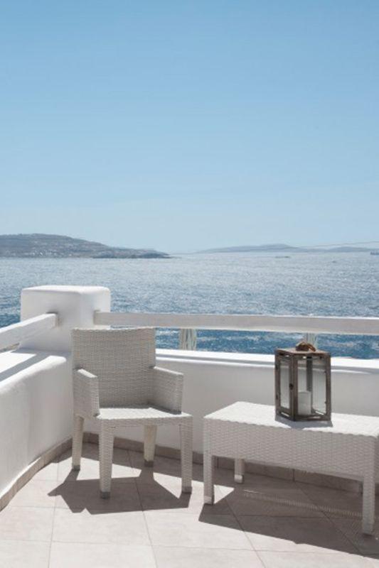 A private terrace looking onto the Aegean Sea at the Rocabella Mykonos Hotel www.mediteranique.com/hotels-greece/mykonos/rocabella-mykonos-art-hotel-spa/