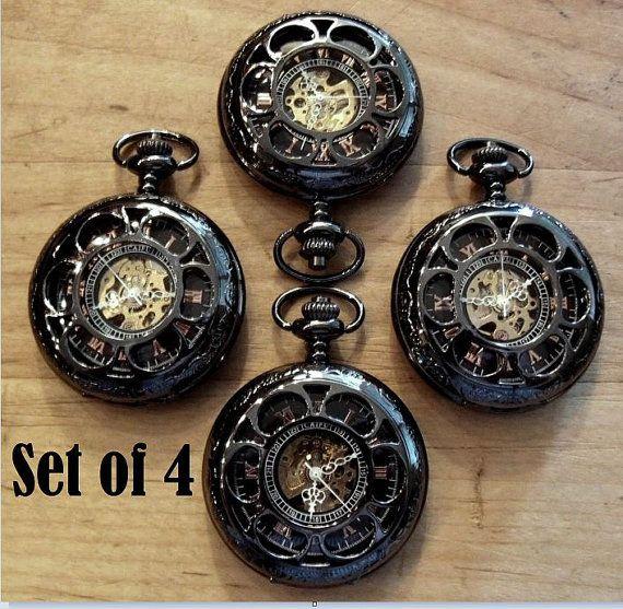 Set of 4 Pocket Watches Engravable by PocketwatchPurveyor on Etsy