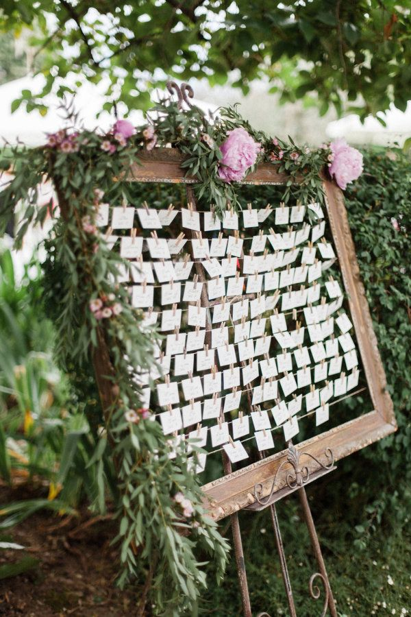Garden-inspired escort cards: http://www.stylemepretty.com/destination-weddings/france-weddings/2016/01/08/rustic-romantic-provence-wedding-at-home/ | Photography: Sebastien Hubner - http://sebastienhubner.com/en/