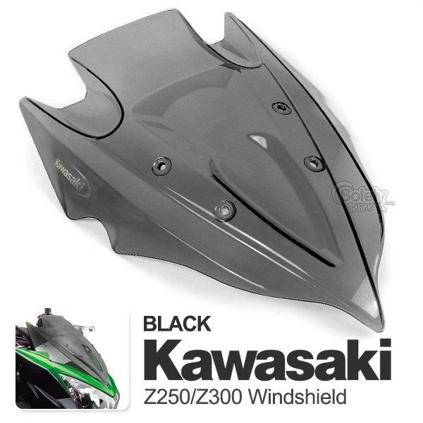 KAWASAKI Z250 Z300 Racing Fairing Windscreen Windshield Black ABS Plastic