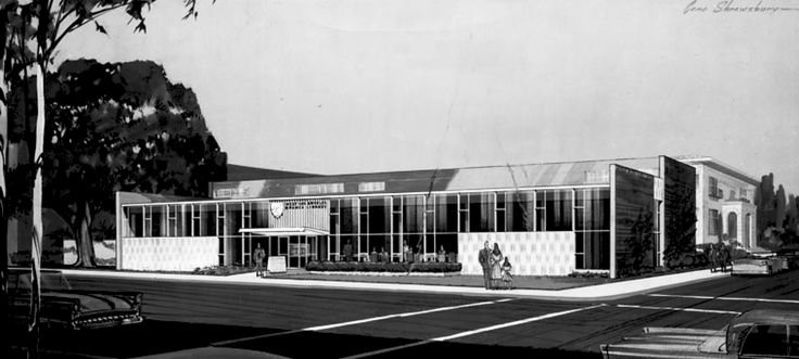 Architect's rendering of exterior of the West Los Angeles Regional Branch of the Los Angeles Public Library on Santa Monica Blvd. between Purdue and Corinth avenues; Allison and Rible, architects 1956.........Notice the old Sawtelle Court building is pictured on the right.