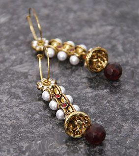 Golden & Red Drop Bali Earrings