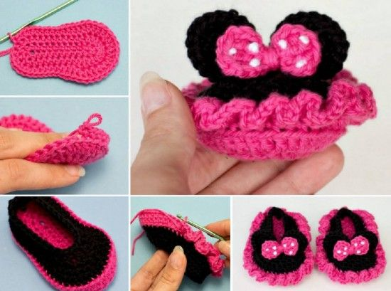Minnie Mouse Booties Free Crochet Pattern