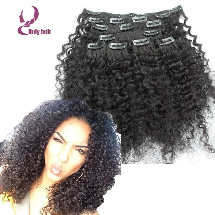 Afro kinky curly virgin hair clip ins 7pcs/lot brazilian clip in human hair  extensions
