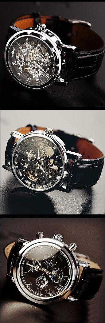 Men's Watch / Retro Style Watch / Handmade Watch / Leather Watch / Automatic Mechanical Watch / Fashion Day Night Wrist Watch (WAT0102-Black) - Thumbnail 4