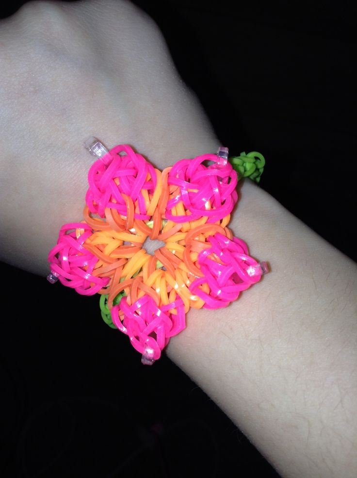 hibiscus flower rainbow loom bracelet 233lastique complexe