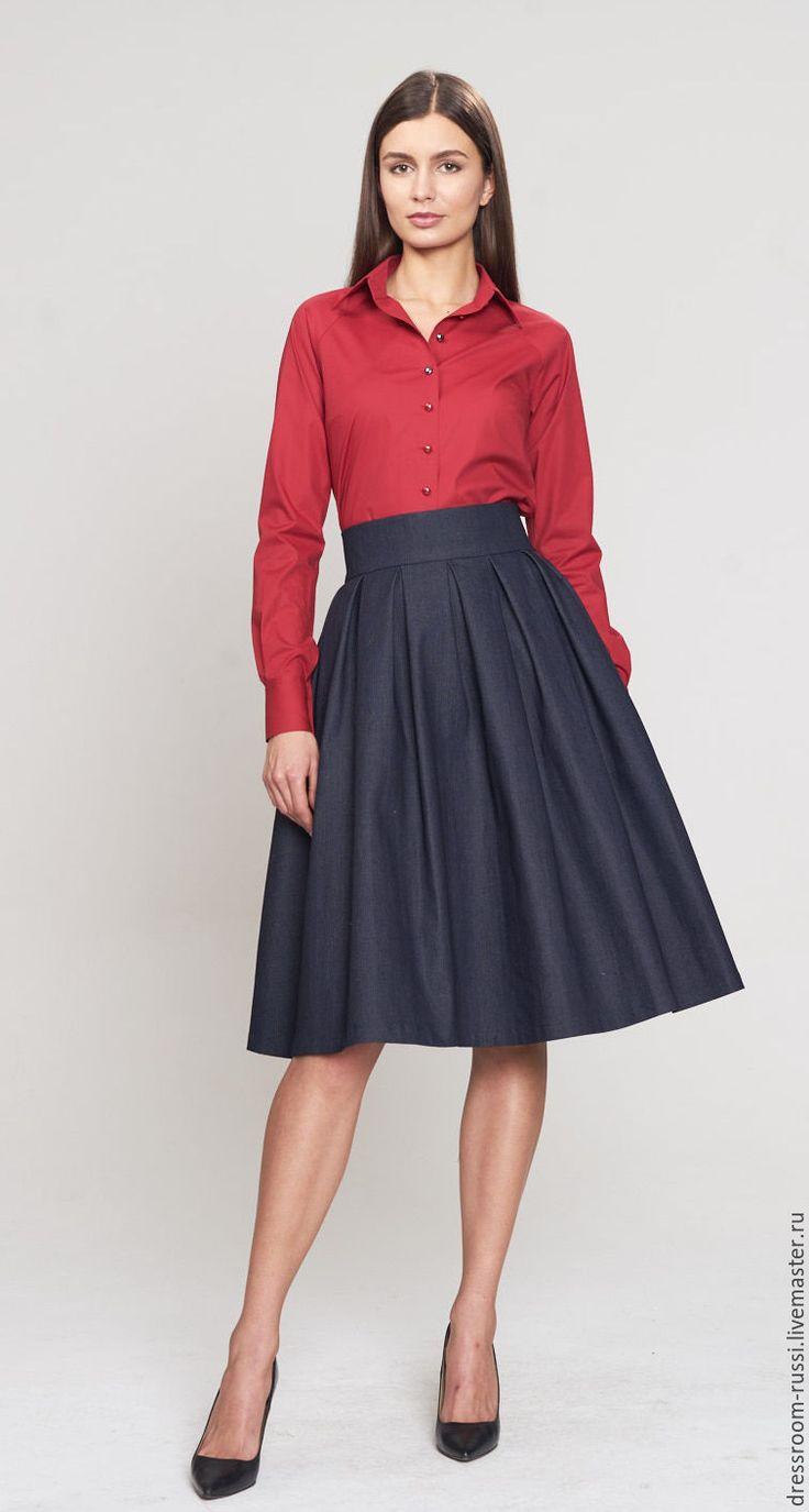 Купить Красная рубашка!!! - ярко-красный, рубашка, рубашка из хлопка, рубашка женская, дизайнерская одежда