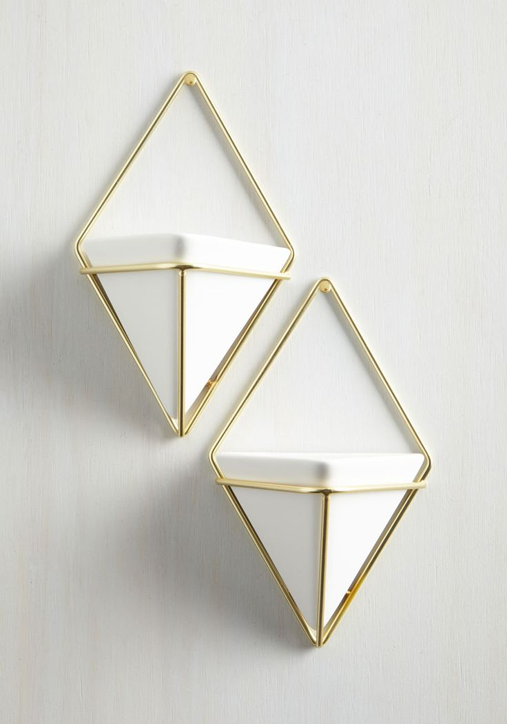 Exemplary Contemporary Vase Set in Gold. Capture the quintessence of modern marvelousness by updating your home with this pair of hanging vases. #white #modcloth