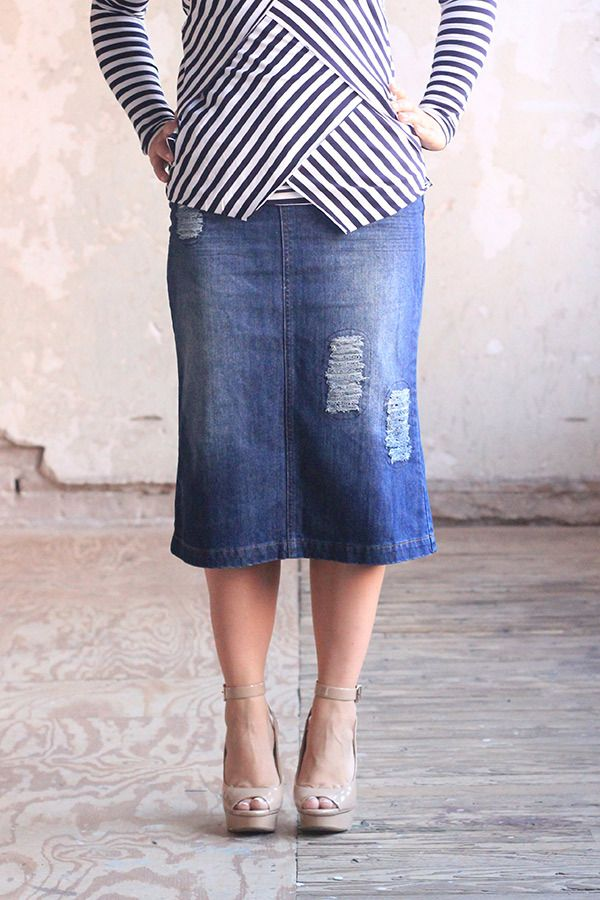 Carrie Distressed Denim Skirt - Jade Mackenzie Modest Apparel