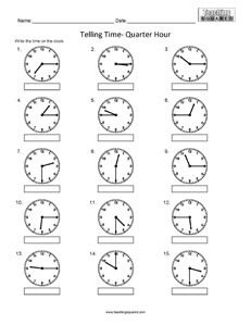 Telling Time to the nearest Quarter Hour clock worksheets