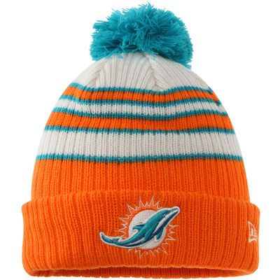 Miami Dolphins New Era Traditional Stripe Cuffed Knit Hat - Orange