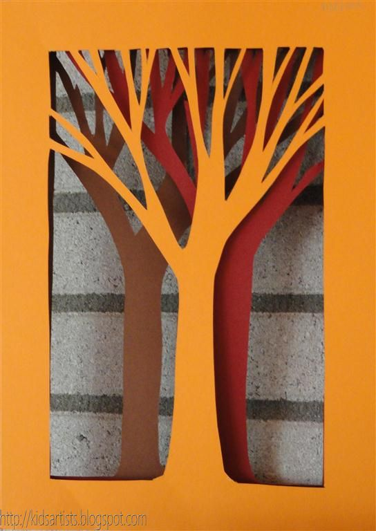 Trees - three collor of paper and scissors