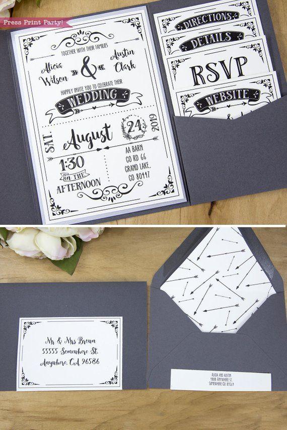 Rustic Wedding Invitation Template Download Printable Pocket Etsy Etsy Wedding Invitations Wedding Invitation Templates Rustic Wedding Invitations Diy