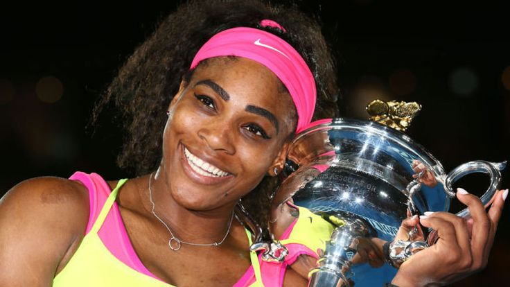 Serena Williams holds the Daphne Akhurst Memorial Cup after winning the 2015 Australian Open women's singles final.