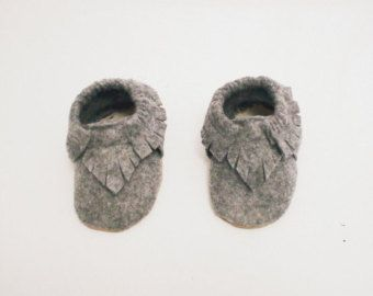 Baby Moccasins Grey Plus Sign Print & Taupe by Blueberriesforcall