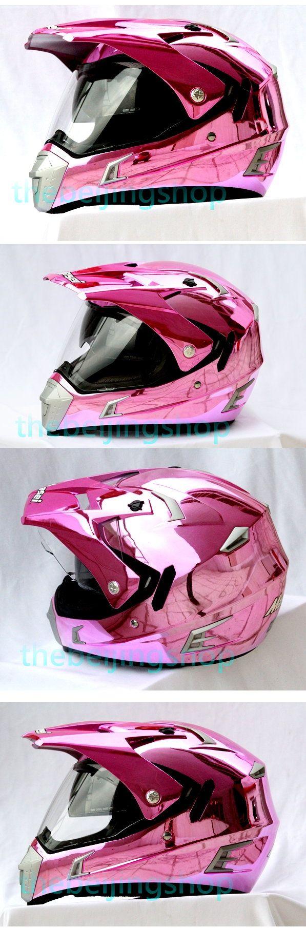 Pink Chrome on Road Flip up Len ATV Motorcycle Helmet