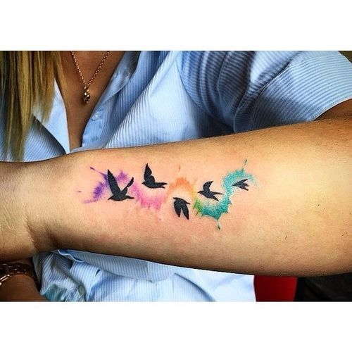 Colored Sleeve Tattoo Of Birds: +253 Tatuajes De AVES【PAJARITOS A Color O Grises