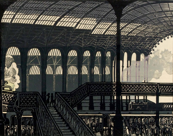 "A Section of the print ""Liverpool St. Station"" (1960)  EDWARD BAWDEN  Giclee Print, 250mm x 610mm  Limited Edition of 950"