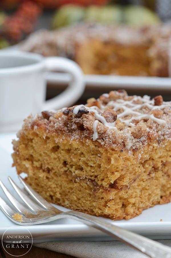 Spiced Pumpkin Coffee Cake Recipe for fall breakfast or dessert.  ||  www.andersonandgrant.com
