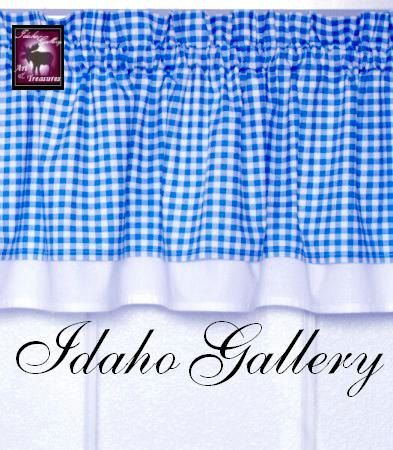 Curtain Blue White Check Gingham Window Treatment Kitchen Curtain Valance. $18.50, via Etsy.