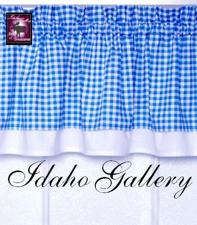 Curtain Blue White Check Gingham Window Treatment Kitchen Curtain Valance. $18.50, via Etsy.