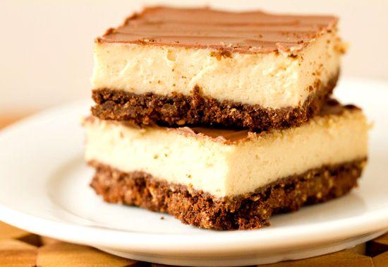 Chocolate & Peanut Butter Cheesecake Bars...whoa!