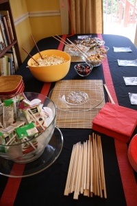 ninjago party ideas, black & red cake table