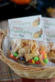 Thanksgiving idea. Snack of bugle chips & other seasonal candies.