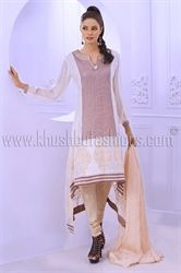 Picture of  Beige Churidar with Chiffon Kammez