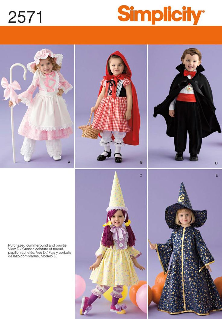 Costumes for toddlers/kids (patterns); vampire, witch, fairy, dresses. #Halloween #Costume