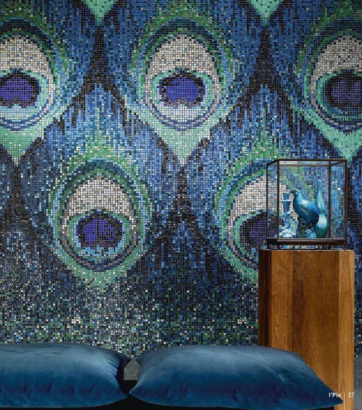 Mosa Que D 39 Int Rieur Murale En Verre Textur E Bleu Vert Il Du Paon Sicis D Coration