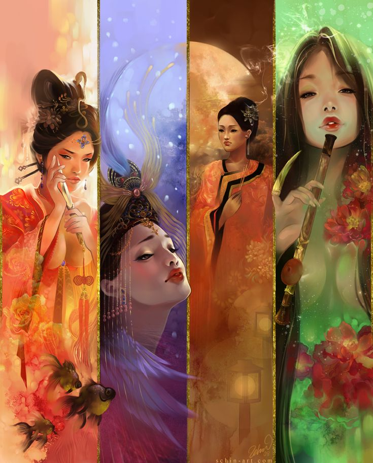 Schin Loong- The legendary four beauties of ancient China. They have a very rich history and legend behind them, which I try to honor while giving them my own take.